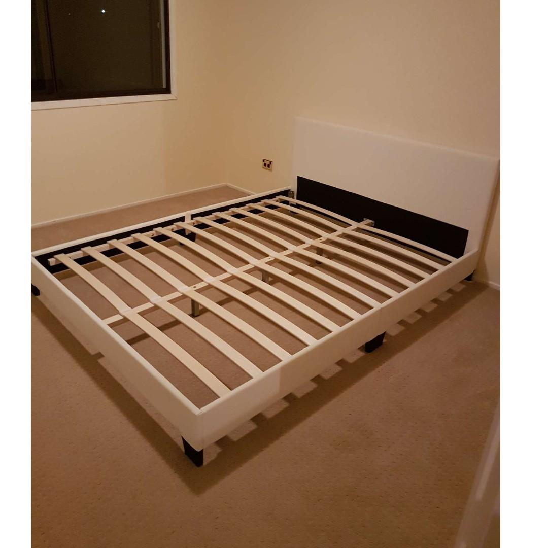 PU Leather Bed Frame Queen size (Black/White) at $200