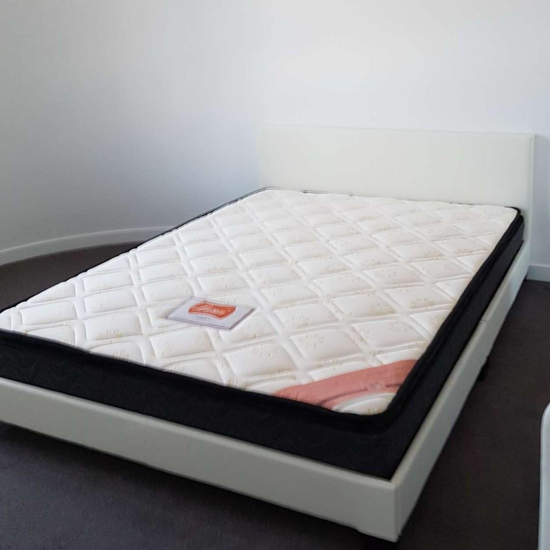PU Leather Double Bed Frame Black/White with Pillow Top Mattress $375