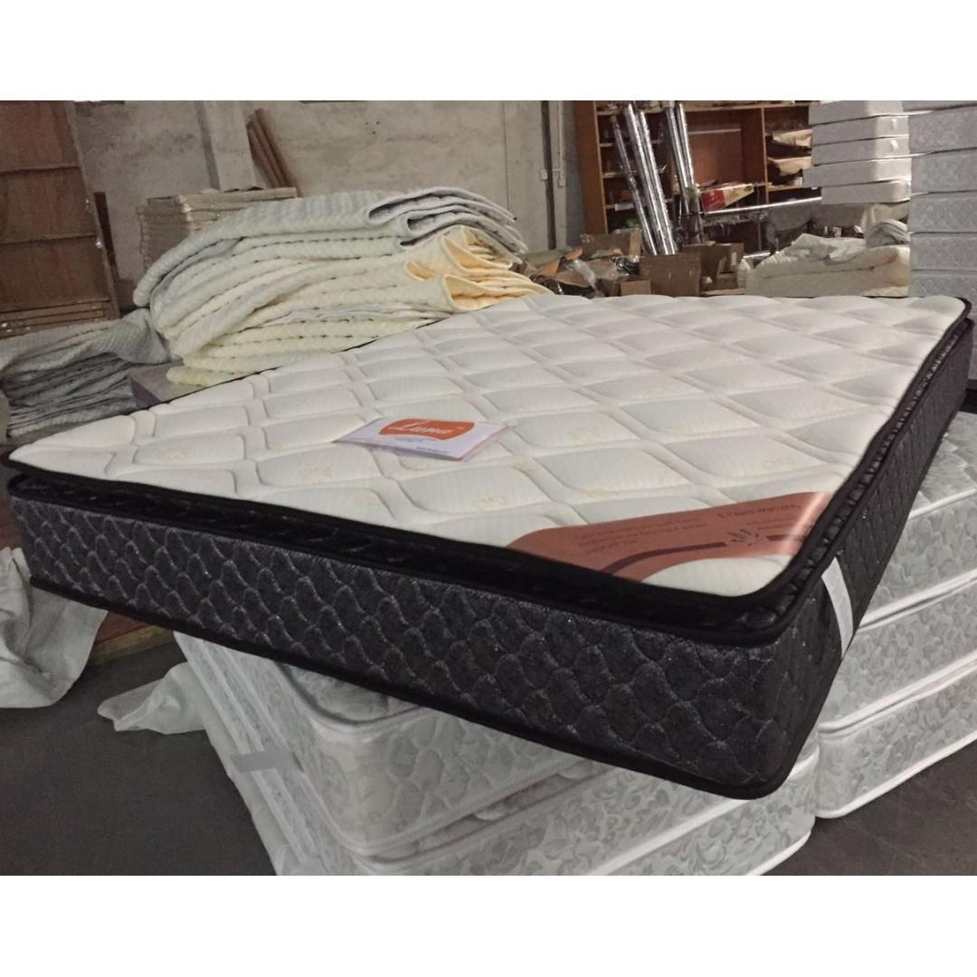 PU Leather Queen Bed Black/White Colour with Pillow Top Mattress at $445