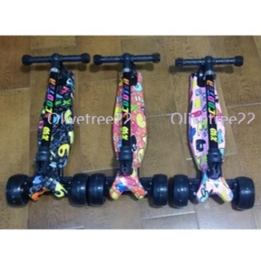 Ready Stocks - Kids Scooter Foldable & Removable Handle 4 Gigantic Wheels with Lights