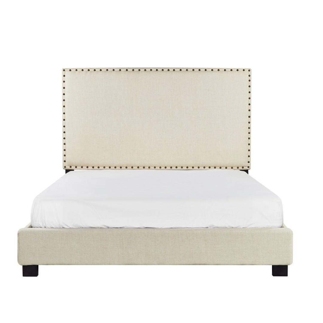 Retro Style FABRIC Double Bed with High HEADBOARD at $380