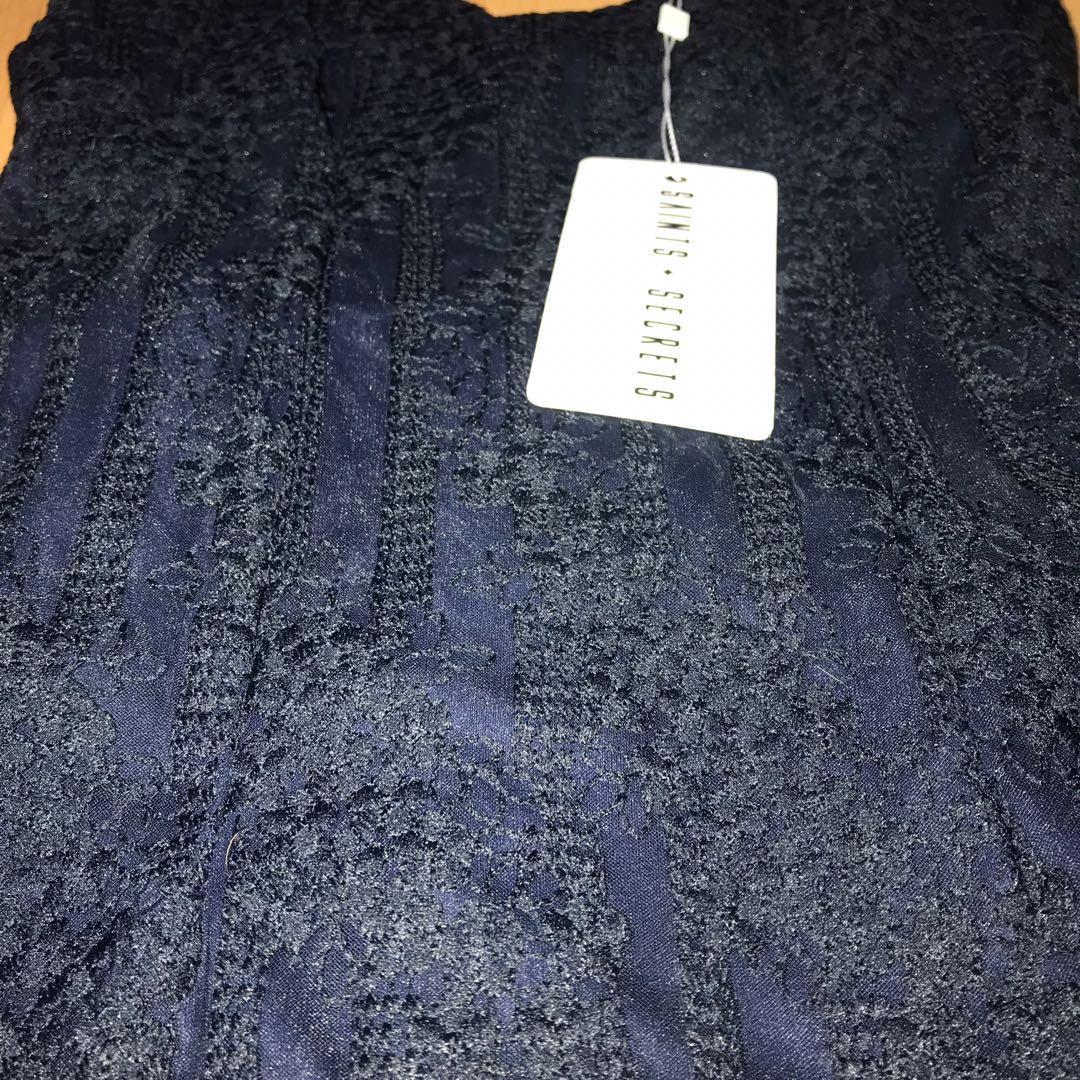Saints + Secrets navy blue frill lace dress - AU8/S - BRAND NEW