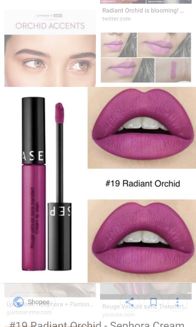 3x Sephora matte lip stains: marvellous mauve #13, English Rose #86, radiant orchid #19 swatched