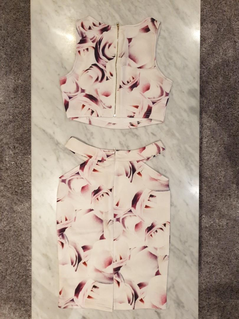 [SIZES UK: 6,8,10,12] White/Pink/Purple Floral Print Crop-Top & Cut-out Skirt Set