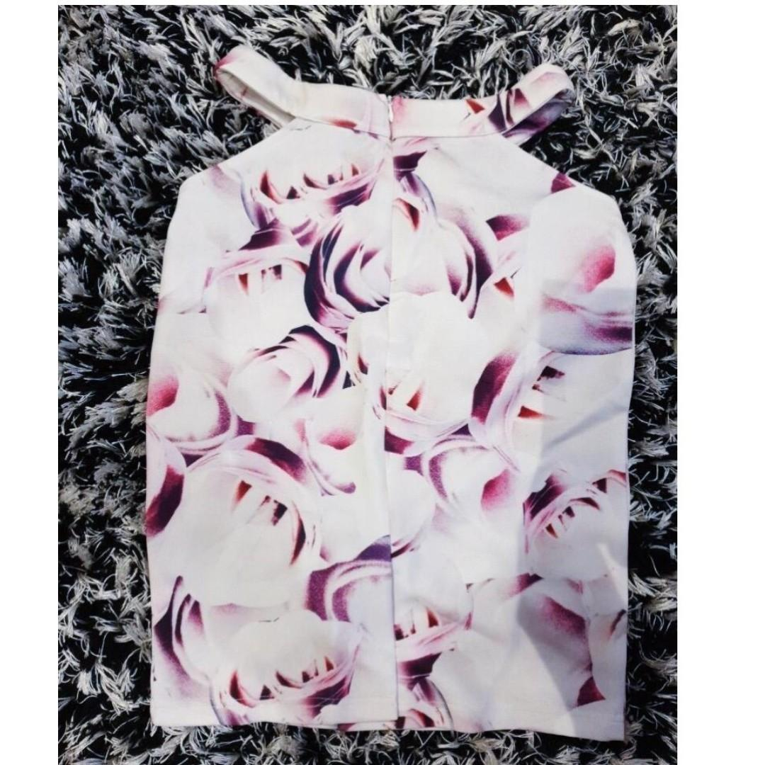 [SIZES UK: 6,8,10,12] White/Pink/Purple Floral Print Cut-Out Skirt