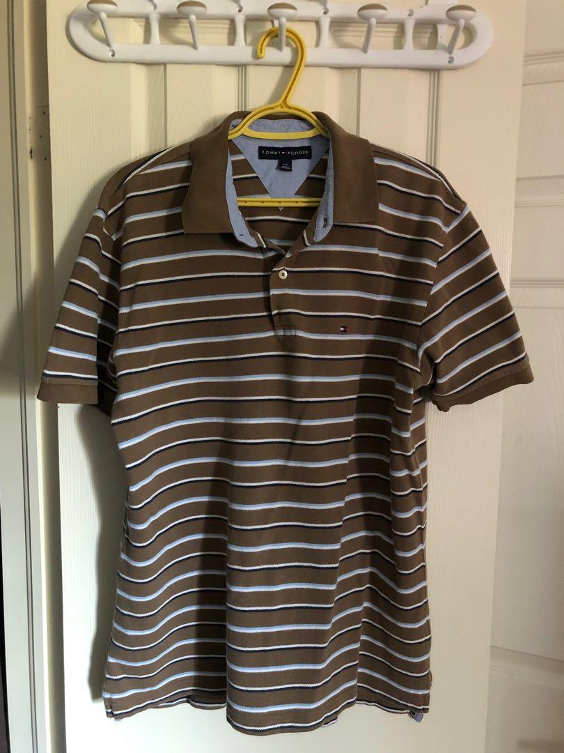 Tommy Hilfiger, Brown, white, and blue striped men's polo shirt