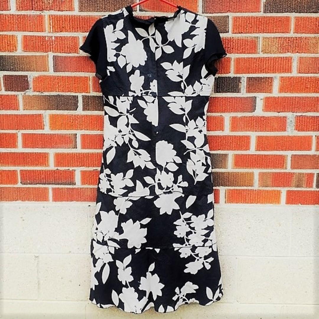 Vintage Black Floral Tea Dress - Excellent Condition