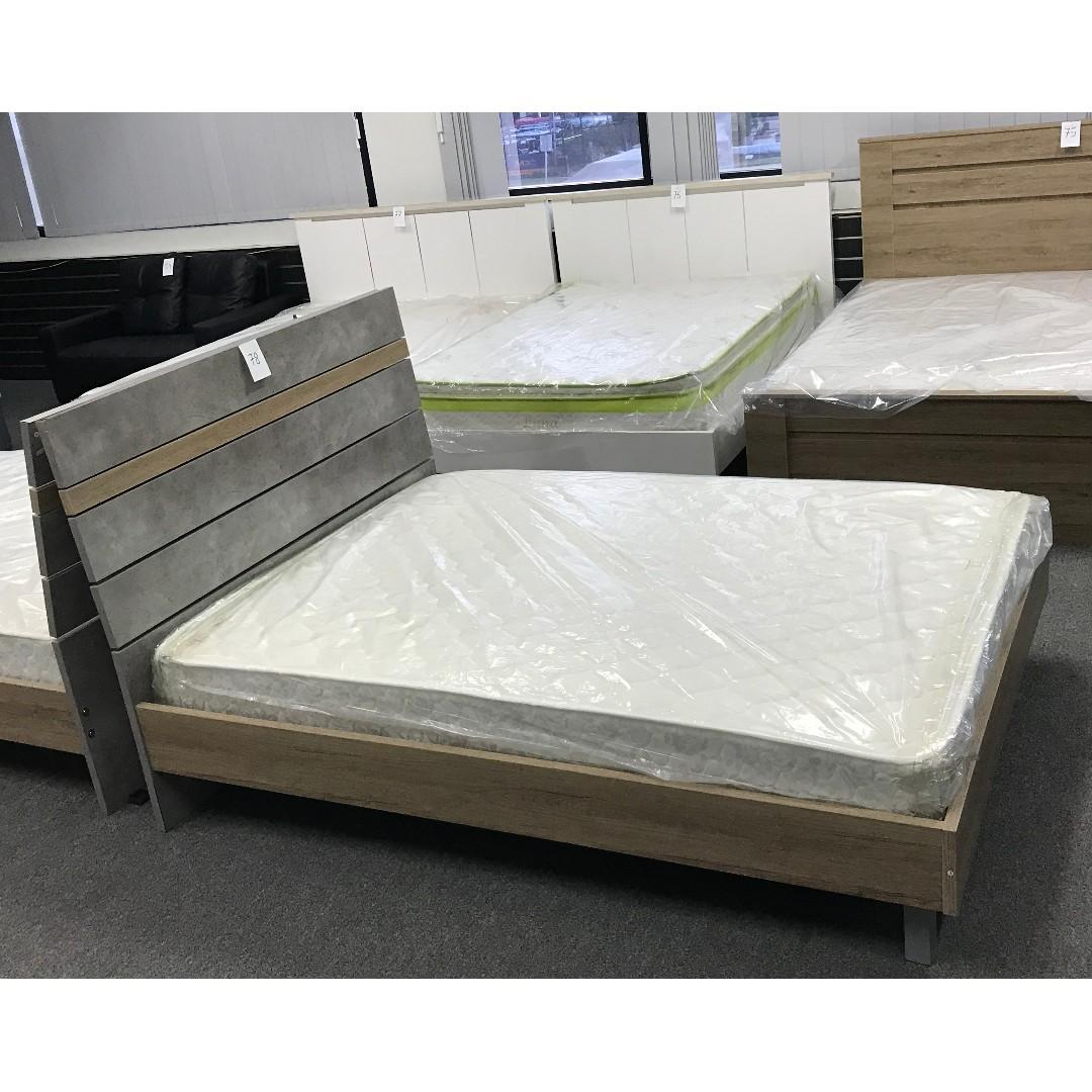 Wooden Double Bed Suite, Double Bed with Dresser with Mirror and Night Stand at $830