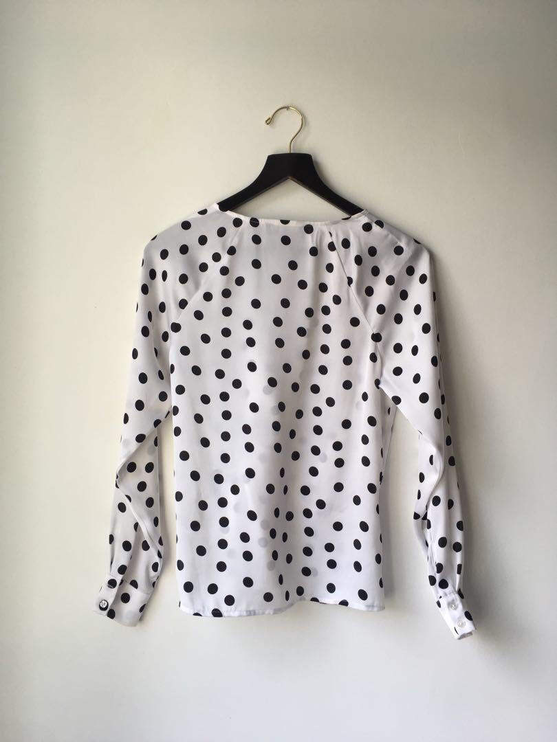 XS Suitable for Work white satin blouse with black polka dots