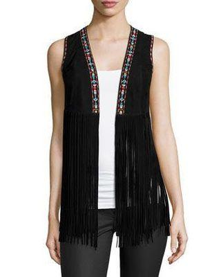 Lamarque Sonia Embroidered Suede Fringe Vest