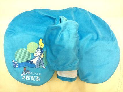 生力清啤 吹氣頸枕連長帽,藍色