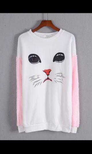 7成新 污漬 貓貓暖寛鬆上衣