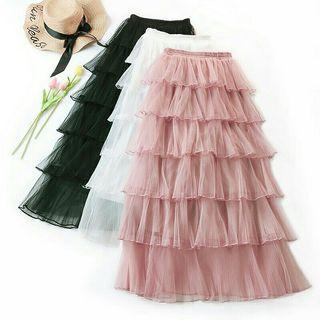 Korean high waist long tulle skirt Ruffles women