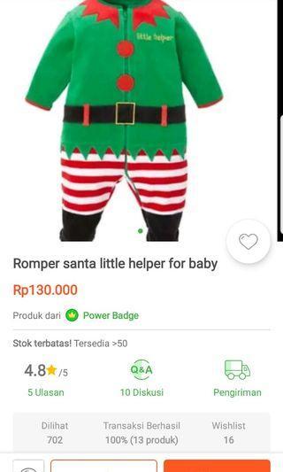 Romper Santa Little warna hijau