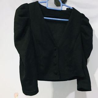 Black Shrug / Cropped Cardigan with puffy sleeves