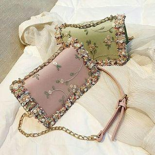 Lace flower women handbag leather sweet square pearl chain