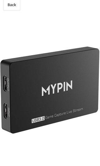 MYPIN 4k@60fps HDR USB 3.0 Game Capture Video Record in 1080P 60fps with Gamepad/Mic Audio Record, Live Streaming/Party Chat Compatible with PS3/ PS4 /Xbox One 360 /Wii U