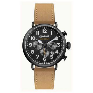 Ingersoll Mens Chronicle The Trenton Brown Leather Strap Black Dial