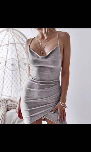 Temt bodycon shimmer dress in nude pink