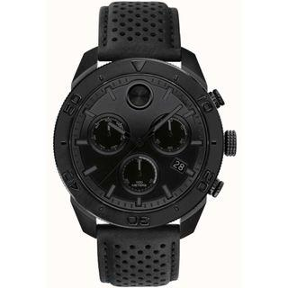 Movado Mens Bold Black Chronograph Perforated Leather Strap
