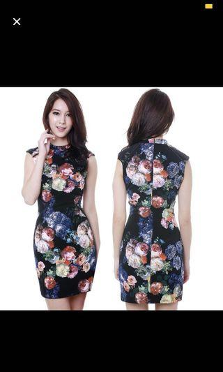 MDS floral bodycon dress