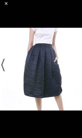 BNWT Pleated Midi Skirt Navy