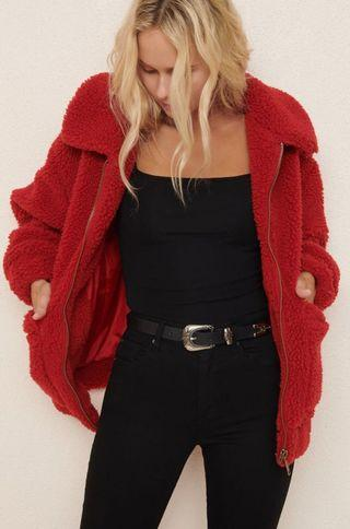 BRAND NEW WITH TAGS red oversized Sherpa jacket