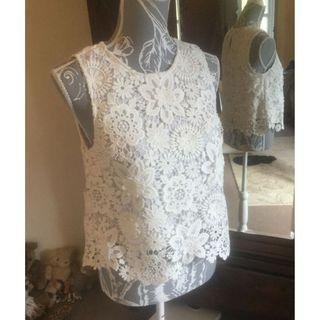 (New without tag) Topshop Heavy Lace White Top M Size