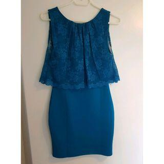 Stunning Topshop Teal Lace Dress S/M size
