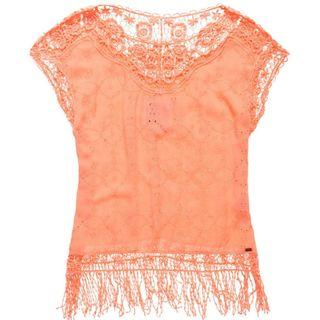 (New without Tag) Superdry Lacy Schiffli Cape Fluro Coral Top