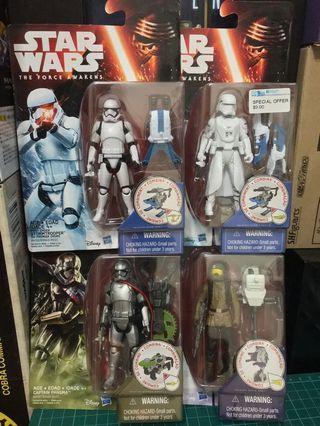 "Star Wars The Force Awakens set of 4. First order Stormtrooper Snowtrooper Captain Phasma Resistance Fighter 3.75"""