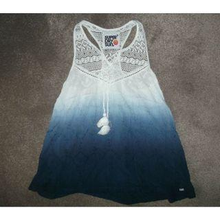 (New without Tag) SuperDry White and Blue Ombre Top