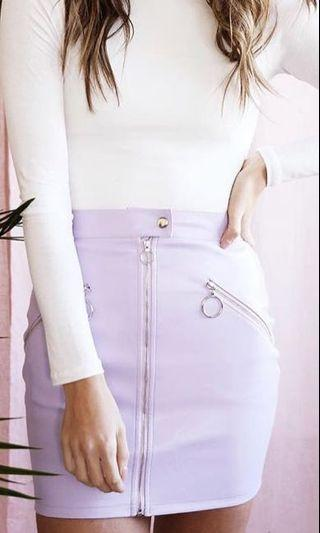 Lavender Leather Skirt