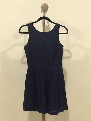 Navy Blue Dress with Bow