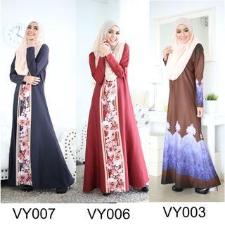Muslimah Nursing Jubah Dress Elvyna Printed