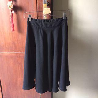 Black Flare Midi Skirt