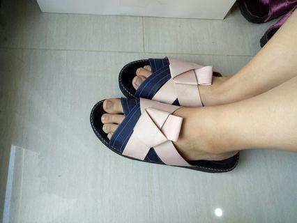 Navy Pink Wedges Sandal sz 39