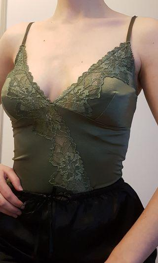Beautiful lace green vintage cami