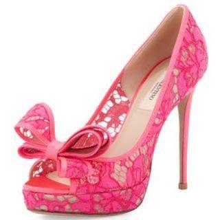 Valentino 桃紅色蕾絲露趾 魚口高跟鞋 前高後高 防水台 拍照鞋 婚鞋 伴娘 婚紗 實品拍攝 鞋盒