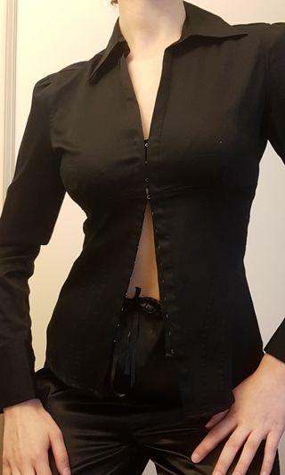 Black collared shirt with clasps