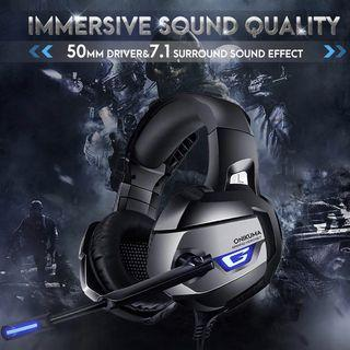 ONIKUMA Gaming Headset for PS4, PS4 Gaming Headset with 7.1 Surround Sound, Xbox One Headset with Noise Canceling Mic LED Light, Over-Ear Headphones for PS4, Xbox One, PC, Mac, Laptop, Nintendo Switch