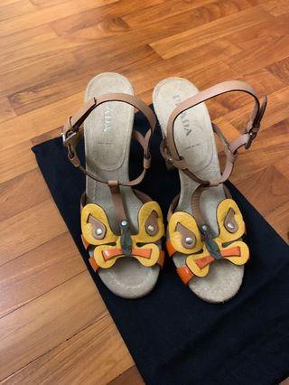 Prada leather sandals heels shoes