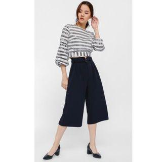 LB Camarre Belted Paperbag Culottes in Navy