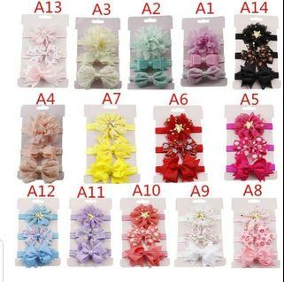 3pcs baby girl elastic flowers headband stretchy bowknot 0m to 5y
