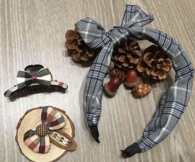 🎁超值加購$250♥️韓款 格紋蝴蝶結髮箍&中抓夾&BB夾🈴️售