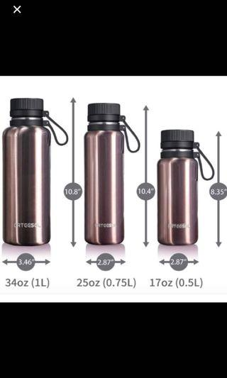 Stainless steel water bottle for hot & cold