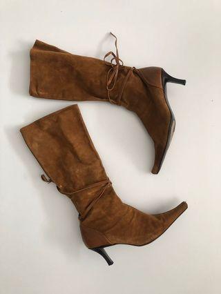BROWN SUEDE FALL BOOTS - beli di Aussie