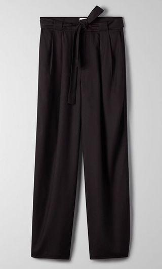 Aritzia-Black cropped wide leg flowy pants (00/XS)