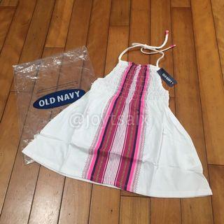 全新Old Navy S 6-7歲 女童繞頸綁帶露背純棉上衣傘擺上衣短洋裝 白