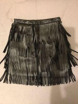 流蘇皮裙short leather skirt